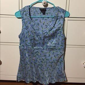 Blue Flower print silk top.